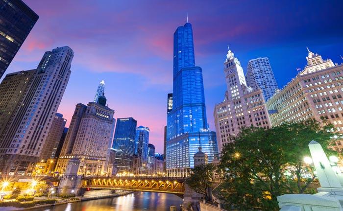 Chicago River and Chicago Riverwalk