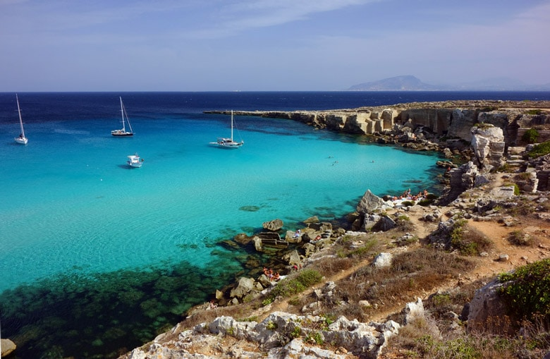 Cala Rossa beach in Sicily
