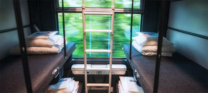 Beds in an overnight Thello train