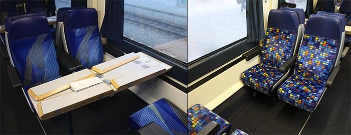 Tempat duduk Kelas Pertama dan Kelas Kedua dalam keretapi EuroCity