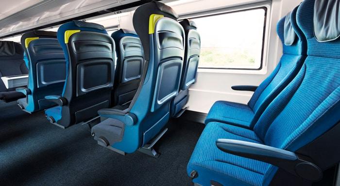 La disposizione standard dei posti nei treni Eurostar
