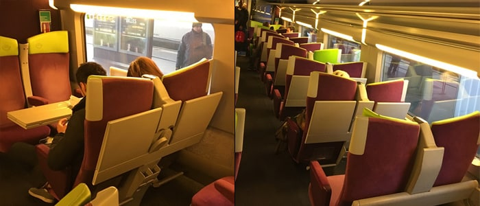 Seating in an Izy low budget train