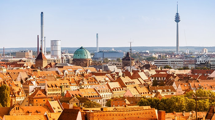 Characteristic red roofs in Nuremberg