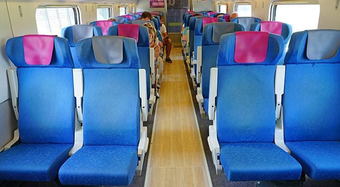 Seats in a Renfe train