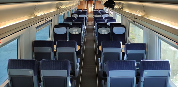 Seating in a Intercity Express train