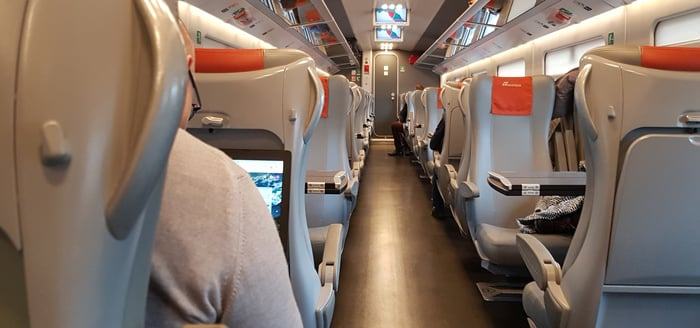 2nd Class (standard) seating on a Frecciarossa train