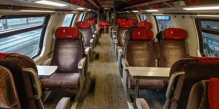 Seating intercity train Switzerland