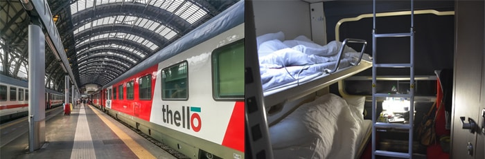Paris to Milan by overnight train