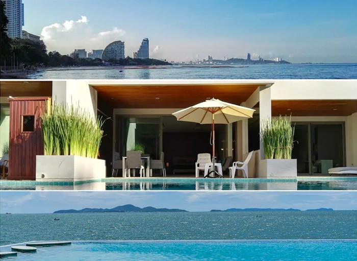 海滨公寓,带泳池和私人露台